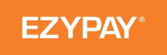 White Ezypay logo orange background